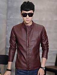Autumn and winter thin Leather Biker jackets male Leather Slim leather coat collar leisure Korean youth tide