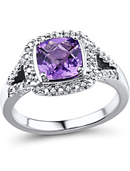 Women's Classic Sterling Silver set with Amethyst and Diamond Ring