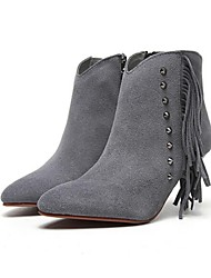 Women's Shoes Suede Fall / Winter Bootie Casual Cone Heel Rivet / Zipper / Tassel Black / Gray