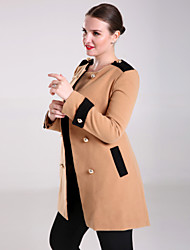 Women's Solid Trench Coat , Vintage Long Sleeve Others