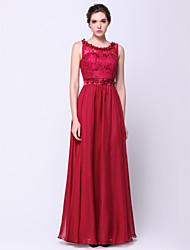 TS couture® выпускного вечера официально платье вечера-линии совок длиной до пола шифон / кружева с цветком (ами) / шнурок