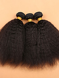 "Mongolian Virgin Hair Coarse Yaki 3 Pcs/Lot Mongolain Hair Weave Bundles  10""-30"" Kinky Straight Human Hair"