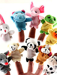 Set of 10 Forest Animal Plush Finger Puppets Kids Talk Prop (Random Types)