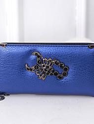 Women PU Bi-fold Clutch / Wallet - Blue / Red / Silver / Black