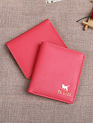 Fashion simple style animals metal buckle short vertical thin  multi-card bit card package lady wallet