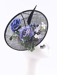 Women Black Sinamay Flowers Headbands Fascinators Feather Wedding Kentucky Derby Hats