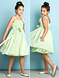 Knee-length Chiffon Junior Bridesmaid Dress - Sage A-line Straps