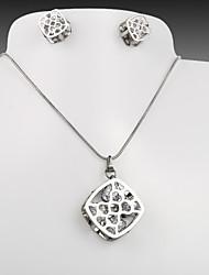 titanio de acero del corazón del melocotón de la moda europea y americana pendientes de la CZ de plata huecos escuadra collar