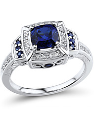 Women's Classic Sterling Silver set with Create Sapphire and Natural Diamond Ring