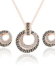 Hot Fashion Zircon Round Pendant Necklace Stud Earring Wedding Jewelry Set