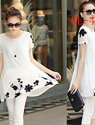 Kamengsi Women's Solid Color White / Black Dresses , Beach / Casual / Party / Work Round Short Sleeve plus size