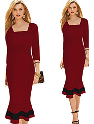 FullTrend Women's Solid Color Blue / Red Dresses , Sexy / Bodycon / Party / Work Square ¾ Sleeve