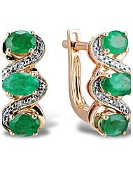 classique 14 carats des femmes or rose sertie de diamants et émeraude naturelle boucles d'oreilles clips