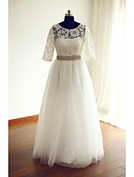 A-line Wedding Dress - Ivory Floor-length Jewel Lace / Tulle