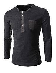 T-Shirts ( Coton ) Informel Rond à Manches longues pour Homme
