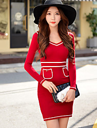 Women's red/black dress,V neck sexy bodycon knit long sleeve dress