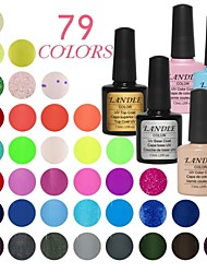 LANDLE  Soak Off UV Nail Gel 79 Color Gel LED Manicure Gel(9  vase)Base And Top Coat  And Random Color