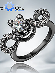 "New Fashion Retro Flower Luxurious CZ Stone""Heart"" Black Gold Plated Band Ring For Woman&Lady"