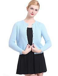 casual / trabalho de manga longa pullover, médio malhas das mulheres