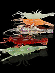 10pcs Soft Bait 75MM 3.5G Luminous Shrimp Fishing Lure Packs (Random color)