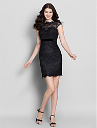 LAN TING BRIDE Short / Mini Bateau Bridesmaid Dress - Little Black Dress Short Sleeve Lace
