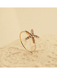 Fashion New Style Crystals Starfish Shape Ring Mermaid