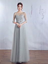 Formal Evening Dress Ball Gown Jewel Floor-length Satin / Tulle with Bow(s) / Lace