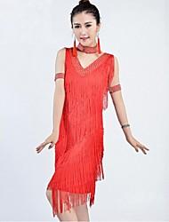 Dança Latina Vestidos Mulheres Actuação / Treino Náilon Chinês Borla(s) 1 Peça Sem Mangas Vestidos 105