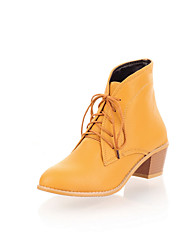 Women's Shoes Chunky Heel Fashion Boots / Comfort Boots Wedding / Outdoor / Dress / Casual Black / Yellow / Beige