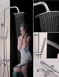 Contemporary Thermostatic Mixer Shower Faucet with 8 inch Shower Head + Hand Shower