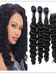 4pcs / lot moins chers faisceaux de friser les cheveux profonds, brésilien vague profonde vierge de cheveux humain avec top en dentelle