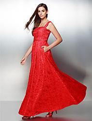Vestido - Vermelho Festa Formal Linha-A Alças Longuete Renda