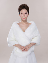 Wedding  Wraps Shawls Ponchos Sleeveless Faux Fur Ivory Wedding Party/Evening Casual V-neck