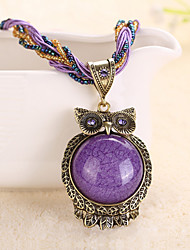Necklace Pendant Necklaces Jewelry Party / Daily / Casual Alloy / RhinestoneBlack / Yellow / Red / Blue / Orange / Green / Purple / Gray