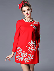 AOFULI Europe Fashion Women Winter Embroidery Red Color Loose Plus Size Long Sleeve Dress