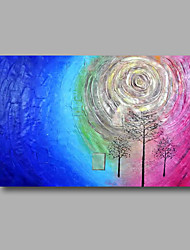 "Ready to hang Stretched Hand-Painted Oil Painting 36""x24"" on Canvas Wall Art Abstract Heavy Oils Blue Pink"