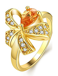 Fashion Lovely Women's Butterfly Colorized Zircon Gold-Plated Brass Statement Rings(Golden,Rose Gold,)(1Pcs)