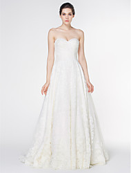 Lanting - A-line Wedding Dress - Ivory Court Train Strapless Lace