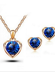High Quality Crystal Heart Pendant Jewelry Set Necklace Earring Gold Plated (Assorted Color)