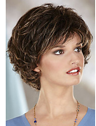Fashion Lady Short Brown Blonde Mixed Wavy Synthetic Wigs