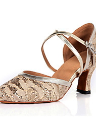 Non Customizable Women's Dance Shoes Latin / Jazz / Modern / Swing Shoes / Samba Leatherette / Lace / Sparkling Glitter