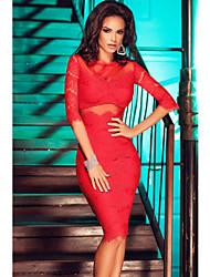Women's  Cutout Back Lace Mesh Midi Dress