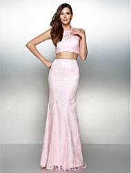 Mermaid / Trumpet Halter Floor Length Lace Prom Formal Evening Dress with Lace by TS Couture®