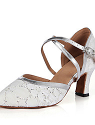 Non Customizable Women's Dance Shoes Latin / Jazz / Modern / Samba Leatherette / Lace / Sparkling Glitter