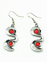 Vintage Look Antique Silver Plated Red and Green Cz Crystal Rhinestone Drop Dangle Earring(1Pair)