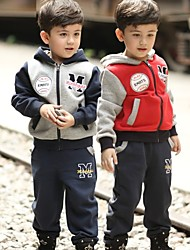 Boy's  Cotton +Fleece Hoodie Set of 2pcs, Winter/ Fall ,Long Sleeve/Hat/Zipper