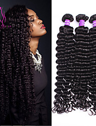 6a não transformados humano cabelo virgem mongol 3pcs profunda onda cabelo virgem / lot cabelo virgem encaracolado profundo transporte