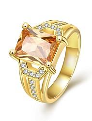 Anéis Casamento / Pesta / Diário Jóias Zircão / Chapeado Dourado / Rosa Folheado a Ouro Feminino Anéis Statement 1pç,7 / 8Dourado / Ouro