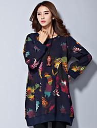 Hoodies Aux femmes Manches Longues A Motifs / Grandes Tailles Coton Epais