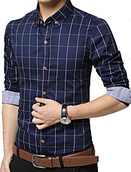 Men's Korean Long Sleeve Shirt , Cotton Casual / Plus Sizes Grid Print Slim Shirt